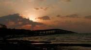 Stock Video Footage of Sunrise behind overseas highway in Florida Keys