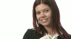 Woman with Cash Stock Footage