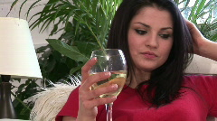 A Woman Drinking White Wine Stock Footage