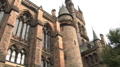 Stock Video Footage of Glasgow University Building Pan Left