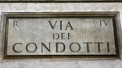 Via dei Condotti street sign in Rome - Italy Stock Footage