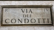 Stock Video Footage of Via dei Condotti street sign in Rome - Italy
