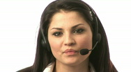 Businesswoman on Headset Stock Footage