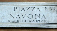 Piazza Navona Street sign in Rome - Italy Stock Footage