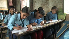 Nepal: Students in Class take notes Stock Footage