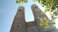 The towers of the Frauenkirche in Munich, Germany Stock Footage