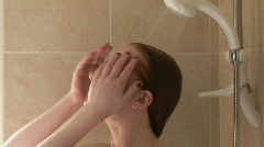 A woman Relaxing in the shower Stock Footage