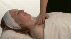 Woman receiving a massage Stock Footage