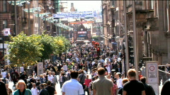 Stock Video Footage of Buchanan Street Glasgow Scotland Zoom Out