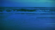 Blue Evening Beach and Surf 1 Stock Footage