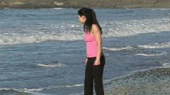 Woman Enjoying Beach Life Stock Footage