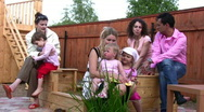 Big family outdoor Stock Footage