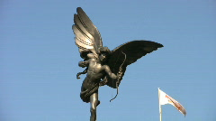 Statue of Eros also known as Cupid god of love in Piccadilly Circus in London. Stock Footage