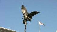 Stock Video Footage of Statue of Eros also known as Cupid god of love in Piccadilly Circus in London.
