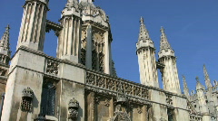 Entrance gate to Kings College Cambridge England UK Stock Footage