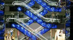 Escalators in shop Stock Footage