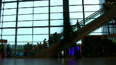 Airport people silhouette escalator Stock Footage