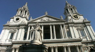 Stock Video Footage of West entrance to St Pauls cathedral in London England UK