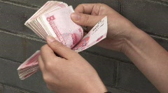 Counting Chinese Money 1 Stock Footage
