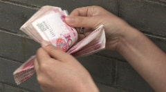 Counting Chinese Money 2 (fast forward) Stock Footage