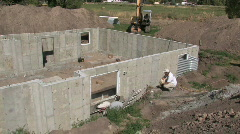 Construction foundation site pan M HD Stock Footage