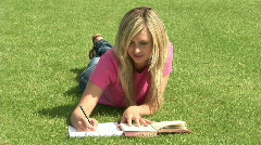 Girl Studying Outdoors Stock Footage