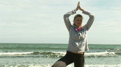 Woman Practicing Yoga Stock Footage