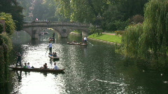 Punting on the river Cam in Cambridge England UK Stock Footage