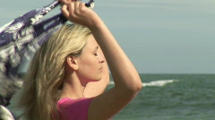 Woman relaxing at Beach Stock Footage