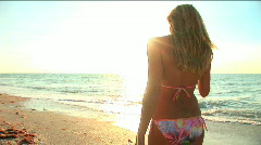 Stock Video Footage of Blonde girl on the beach