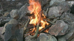 Classic campfire. Medium shot w/sound. Stock Footage