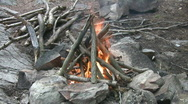 Classic campfire. Wide shot w/sound. Stock Footage