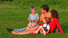 family of four on grass - stock footage
