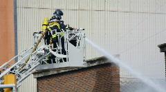 Barcelona firemen fire danger urban Stock Footage
