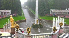 Samson and the Lion Fountain Peterhof Russia Stock Footage