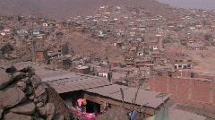 Peru: Pan of slum near Lima Stock Footage