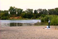An Elderly Couple by the American River - stock footage