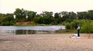 An Elderly Couple by the American River Stock Footage