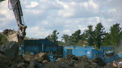 Loading Aggregate Into A Rock Crushing Machine Gravel Production Stock Footage