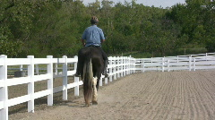 Man riding horse in fenced area Stock Footage