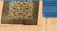 Stock Video Footage of carpet over a wall in morocco