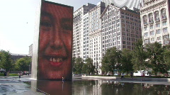 Chicago: Crown Fountain at Millennium Park - stock footage