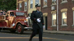 Old Tyme Fire Truck 2 Stock Footage