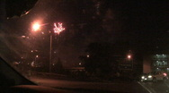 Stock Video Footage of Fireworks Viewed From A Car 6
