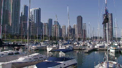 Boats in Marina by Lakeshore Drive Stock Footage