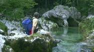 Stock Video Footage of Break at mountain stream