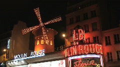 Famous Moulin Rouge Landmark Stock Footage
