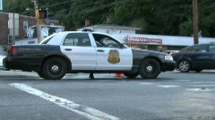 Police Office Exits Vehicle Stock Footage