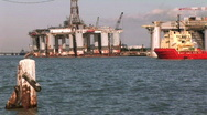 Oil rig crew boat Stock Footage