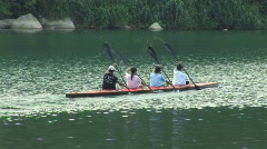 Taiwan group paddles in kayak - stock footage